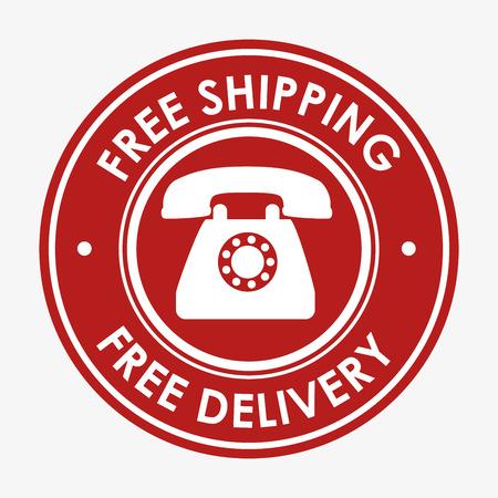 transact: free shipping telephone emblem design vector illustration Illustration