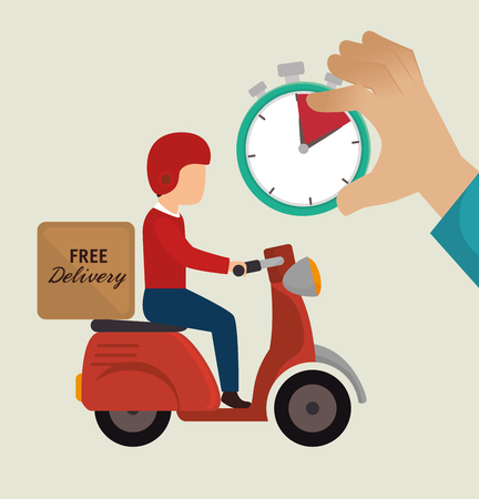 free delivery guy ride motorcycle icons vector illustration