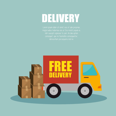 transporting: truck delivery transporting package design vector illustration
