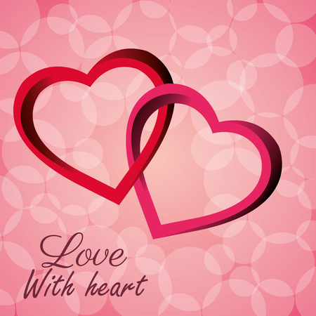 intertwined: intertwined hearts love with heart icon vector illustration Illustration