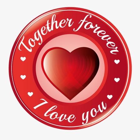 i love you heart: together forever i love you heart symbol icon vector illustration