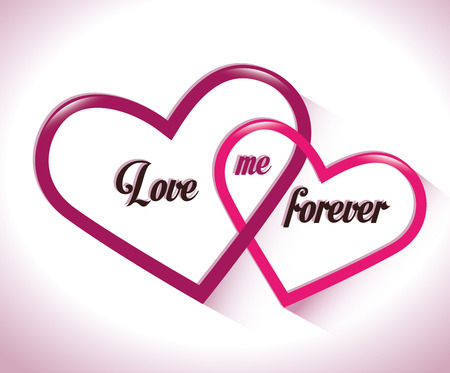 interlocked: two intertwined hearts love me forever vector illustration