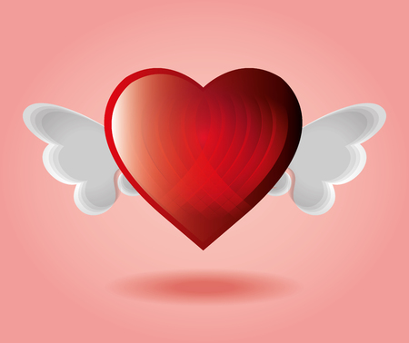 backgraound: red heart with wings pink backgraound vector illustration