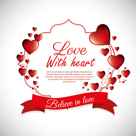 love with heart believe in love label design vector illustration