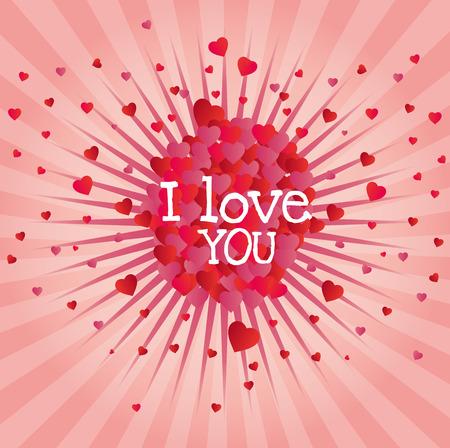 love image: explosion hearts love image design vector illustration