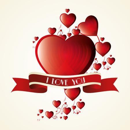 i label: romantic card i love you label vector illustration Illustration