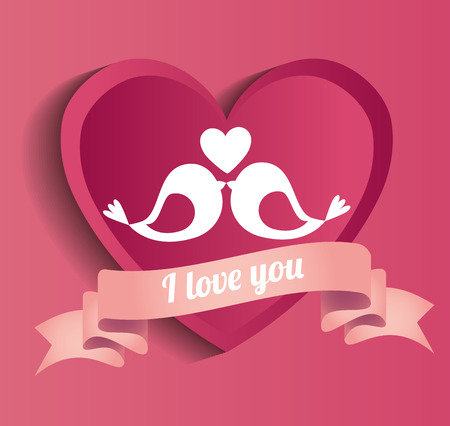 lovely postcard love you bids heart pink vector illustration