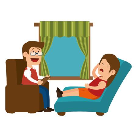 psychiatrist: psychology offfice therapist session design vector illustration eps 10
