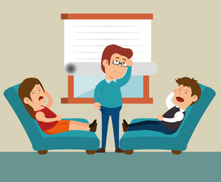 family discussion: couple consultation office therapy vector illustration eps 10