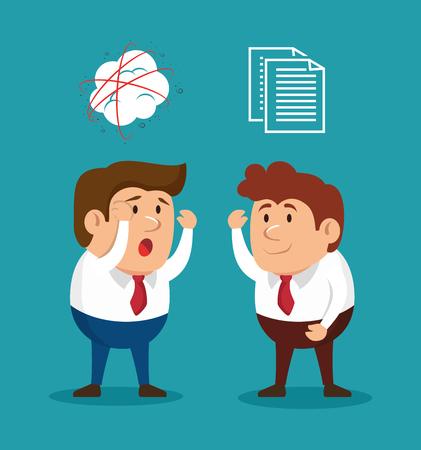 fury: businessmen fury illness mental solving vector illusration eps 10