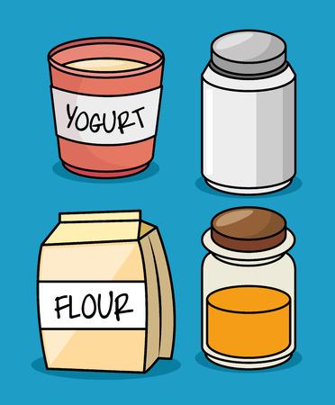 flour: collection flour yogurt salt honey icons design vector illustration eps 10