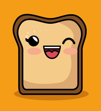 confiture: kawaii cute breakfast bread slice icon vector illustration eps 10