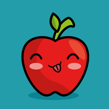 apple cinnamon: tasty kawaii apple fruit icon vector illustration eps 10 Illustration