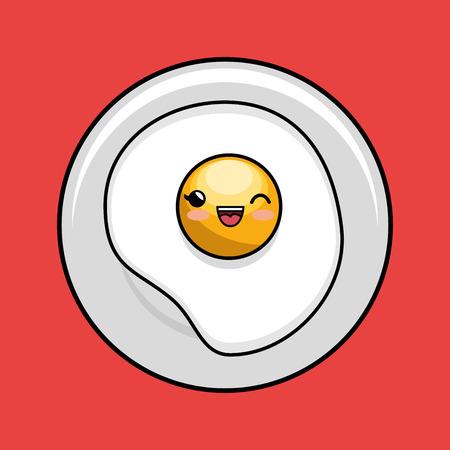 fried egg kawaii plate cook vector illustration eps 10