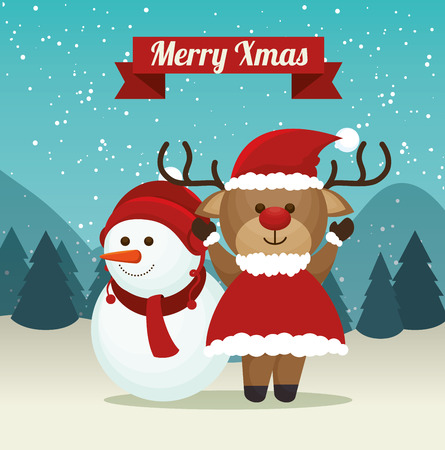 Cute Reindeer Snowman Suit Santa Landscape Background Merry Xmas ...