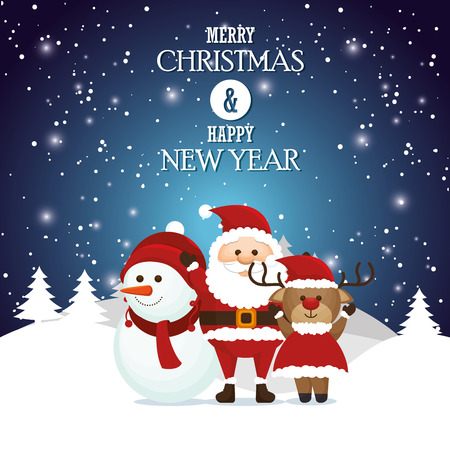 christmas postcard: postcard merry christmas and happy new year santa snowman reindeer landscape snow vector illustration Illustration