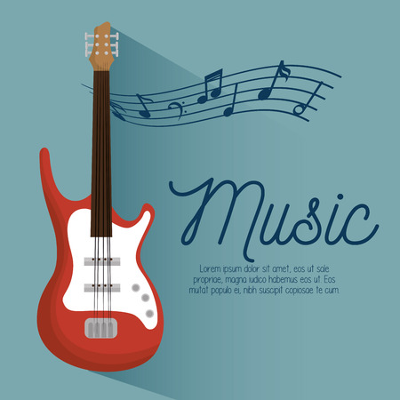 wood staves: music poster electric guitar and notes vector illustration eps 10