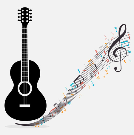 chorale: traditional guitar treble clef notes vector illustration eps 10