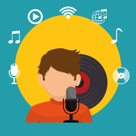 lp: boy character singing lp music icons vector illustration