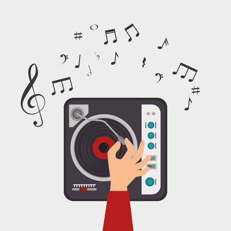 console: dj console note clef music vector illustration