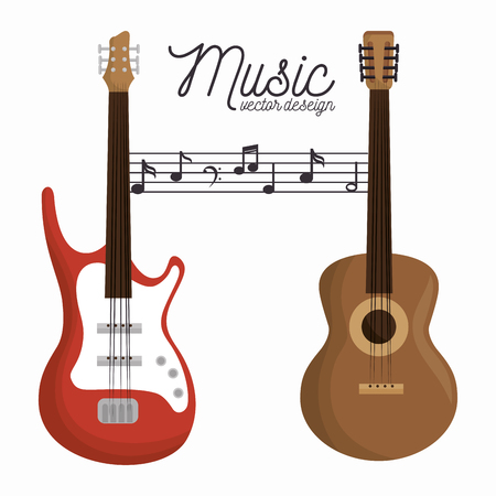 music letter electric guitar and wooden guitar white background vector illustration