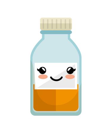 cure: cute medicine bottle icon vector illustration