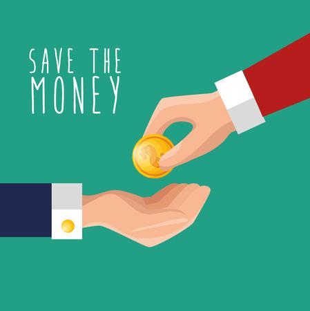 put: hand put money save icon design vector illustration