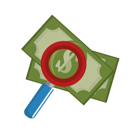 bank cart: searching money save icon vector illustration