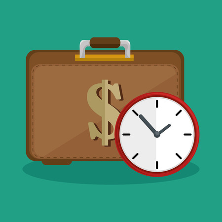 bank records: suitcase money clock safety icon vector illustration Illustration