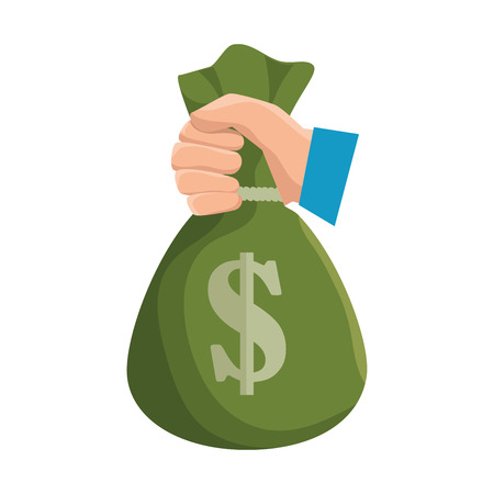hand hold bag of money dollar icon vector illustration