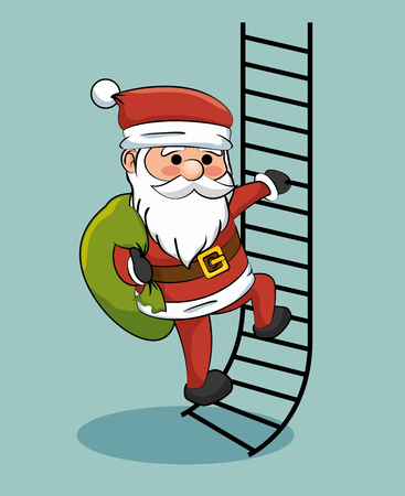 bah: santa claus climbing stairs with gift bag vector illustration