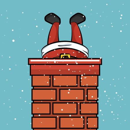 santa claus chimney stuck snow design vector illustration