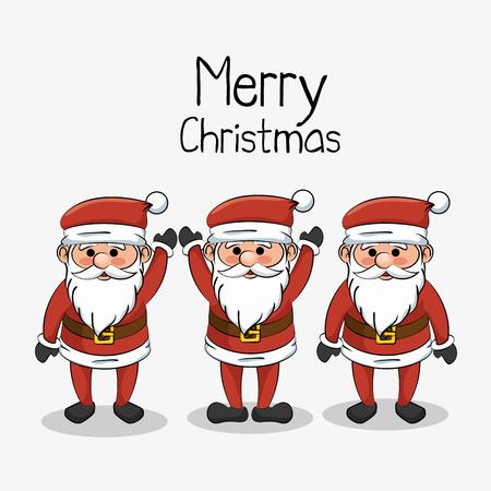 Gruß der frohen Weihnachten eingestellt Sankt lustige Vektor-Illustration klaus