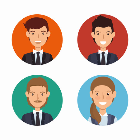 associates: business people avatars group vector illustration design