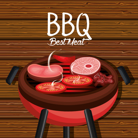 barbecue time best meat vector illustration design