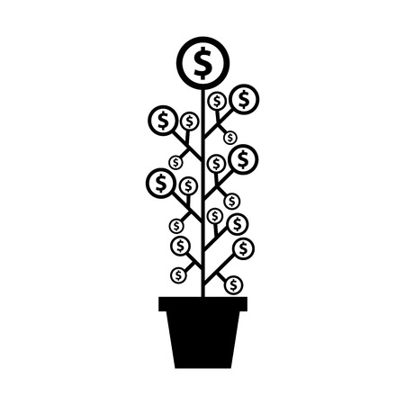 grow money: plant with coins funding icon vector illustration design