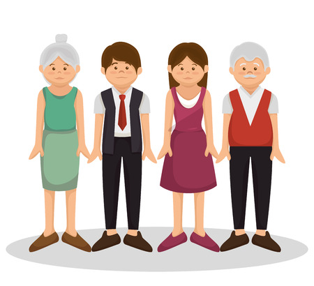 family members: group family members characters vector illustration design