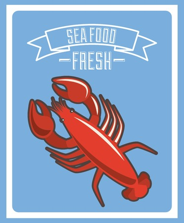 delicious seafood lobster animal vector illustration design