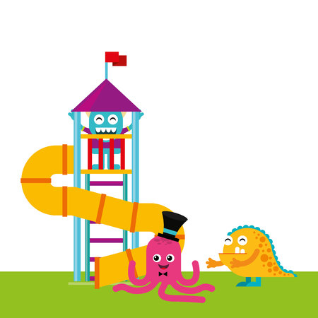 stimulate: monster playing in playground vector illustration design