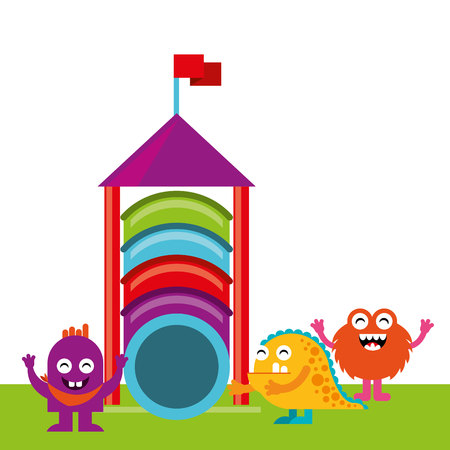 monster playing in playground vector illustration design