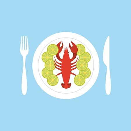 delicious seafood lobster animal vector illustration design
