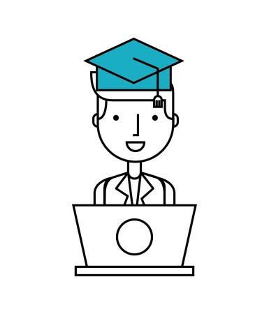 person user laptop computer vector illustration design Illustration