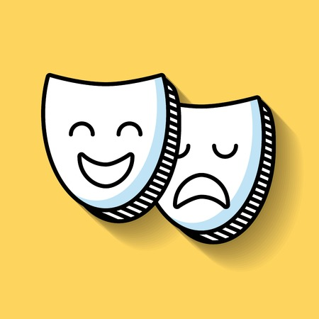 caretas teatro: máscaras de teatro icono de la línea ilustración vectorial de diseño