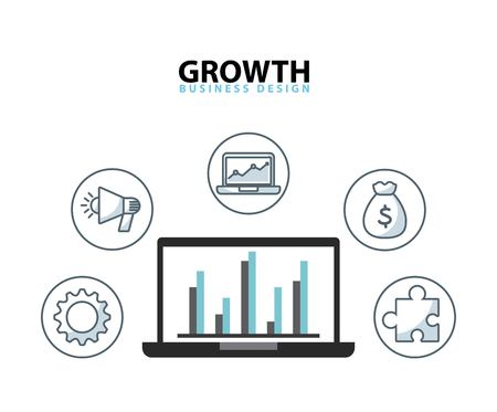 funding: growth business funding line icons vector illustration design