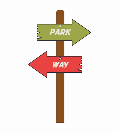 guides: arrows guides way park isolated icon vector illustration design