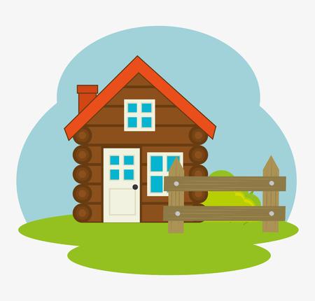 log cabin: log cabin camping icon vector illustration design