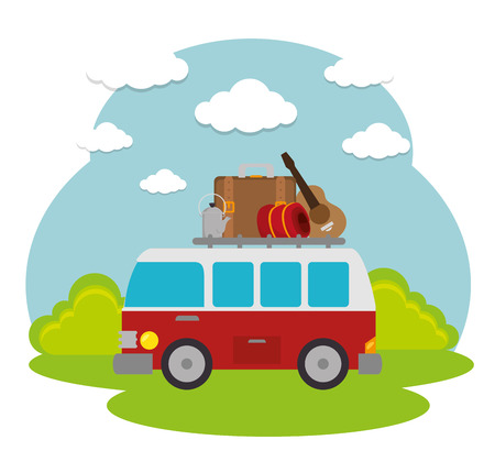 illustraiton: travel camping day landscape vector illustration design