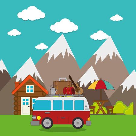 illustraiton: travel camping day landscape vector illustration design