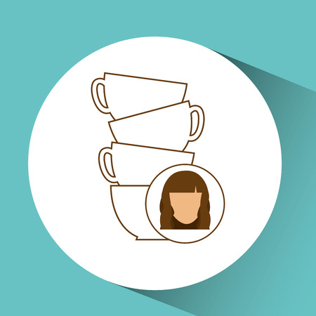 cashmere: cup coffee pile with female design vector illustration