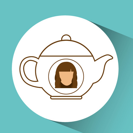 tea pot coffee hot female blue background vector illustration Illustration